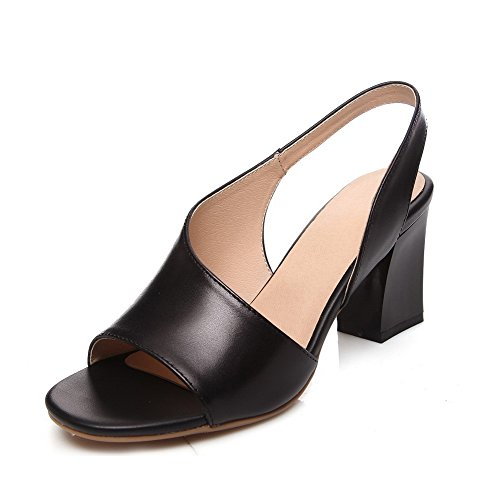 AllhqFashion Womens Pull-on Open Toe High-Heels Cow Leather Solid Sandals Black 36fW9Q