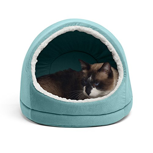 Best Friends by Sheri Kitty Hut, Ilan, Tide Pool - Cat and Dog Pet Cave with Wide Entrance and Removable Mat Insert - Water and Dirt-Resistant Bottom, Washer and Dryer Safe - for Pets 15lbs or Less