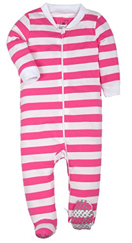 (Both Meet Yuan Baby Cotton Cartoon Pajamas Baby Girls Boys Long Sleeve Romper (Pink and White, 12-18))