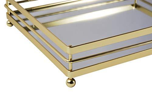 (Vnesse Decorative Mirror Tray Mirror Perfume Glass Vanity Jewelry Serving Tray Glazed Gold Elegant Accessories for Dresser & Bathroom 10.6