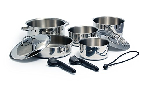 Camco 43921 Stainless Steel 10 Piece Nesting Cookware Set