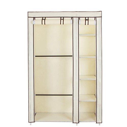 Songmics Clothes Closet Portable Wardrobe Storage Organizer With Shelves Beige 43 Quot Ulsf007m