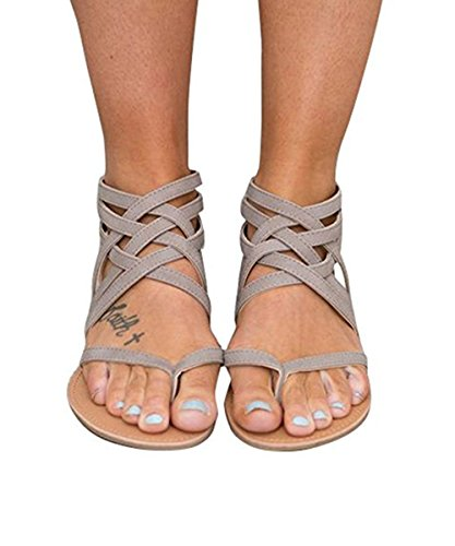 Huiyuzhi Womens Flip Flop Gladiator Flat Sandal Fisherman Sandal,Grey,8.5 B(M) US / Eu 41
