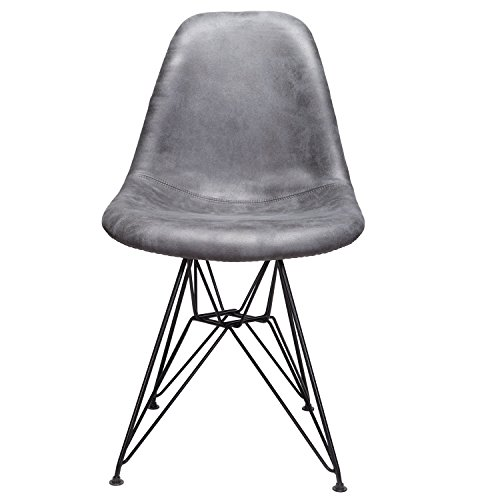 Markle Cool Gray Leatherette Fabric Upholstered DSR Dining Side Accent Chair with Black Steel ()