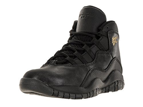 Image of Nike Jordan Kids Jordan 10 Retro Bp Black/Black/Drk Grey/Mtllc Gld Basketball Shoe 1 Kids US
