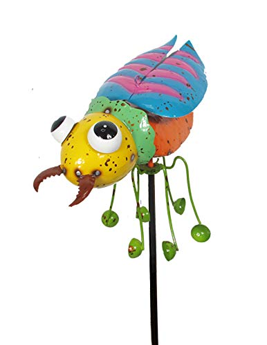 Continental Art Center Inc. CAC18128 2019 Hand Painted and ENAMELED Beetle with Spinning Legs Kinetic Garden Stake Lawn and Yard Art Decor, Colorful
