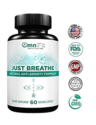 JUST BREATHE - Potent Natural Anxiety Relief Support - Extra Strength Herbal Formula Includes: Ashwagandha, Chamomile, Valerian Root, Bacopa & More! - Scientifically Formulated - 60 Veggie Caps