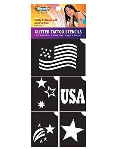 - Glimmer Body Art 5 Stencil Pack - Patriotic