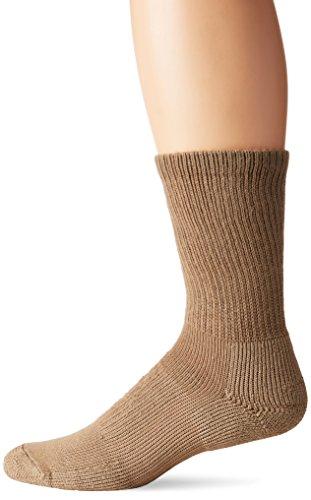 (Thorlos Unisex WX Walking Thick Padded Crew Sock, Khaki, Medium)