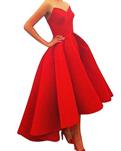 SaiDeng Mujer Vestido Elegante Asimetría Vestidos Sin Tirantes Noche Ceremonia Ropa Rojo
