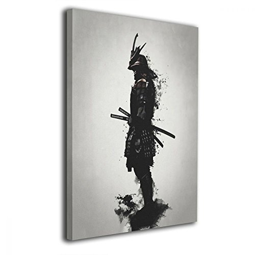 Martoo Art Armored Samurai Painted Framed Oil Paintings Printed On Canvas Wall for Office Home Decor Pictures Modern Artwork Hanging for Living Room Decorations Ready to Hang