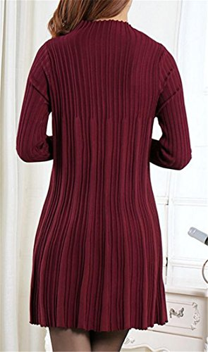 Sweater Knit Wine Red Flare Pleated Womens Long Sleeve Solid Line A Cruiize Slim vpU7q