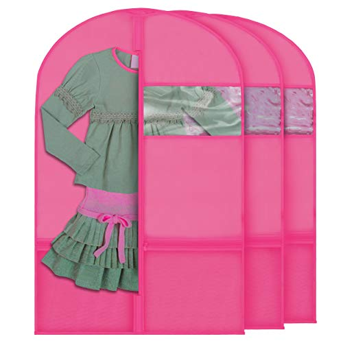 """Plixio Garment Bags for Kids Dance Costumes with Transparent Window and Zippered Mesh Pockets for Shoes and Accessory Storage (3 Pack) (Pink: 36"""" x 23"""")"""