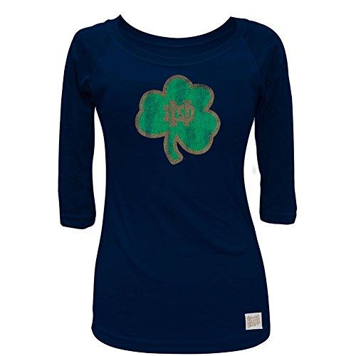 Notre Dame Fighting Irish - Distressed ND Shamrock Juniors 3/4 Sleeve Raglan - ()