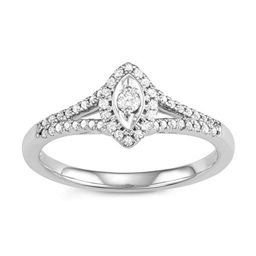 Triss Jewelry 1/4 Cttw Diamond Marquis Shape Fashion Ring For Women in 10k White Gold