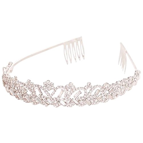 Scalloped Rhinestone Tiara with Baguettes Style HJ15363, Silver