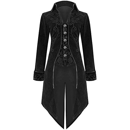 BODOAO Mens Halloween Tailcoat Jacket Goth Steampunk Uniform Costume Praty Outwear -