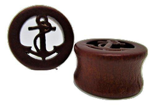 - Pierced Republic Wood Anchor Cutout Ear Plugs - Flared Ear Gauges - 6 Sizes - Pair (1/2