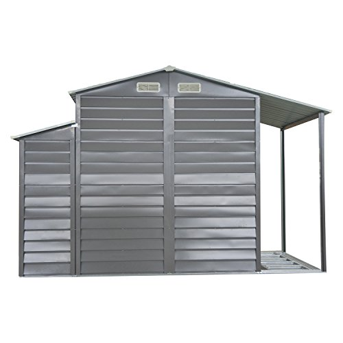 Outsunny 10' x 5' Metal Outdoor Garden Storage Shed w/ Firewood and Side Storage - Gray/White by Outsunny (Image #3)