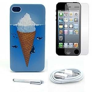 ZMY caso duro de la mar modelo delfín helado y protector de pantalla y el stylus y el cable para el iphone 4 / 4s