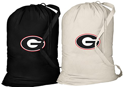 University of Georgia Laundry Bag -2 Pc SET- Georgia Bulldogs Clothes Bags by Broad Bay