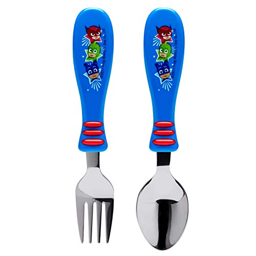Zak Designs PJ Masks Easy Grip Flatware Fork And Spoon Utensil Set - Perfect for Toddler Hands With Fun Characters, Contoured Handles And Textured Grips, PJ Masks (With Mask Handle)