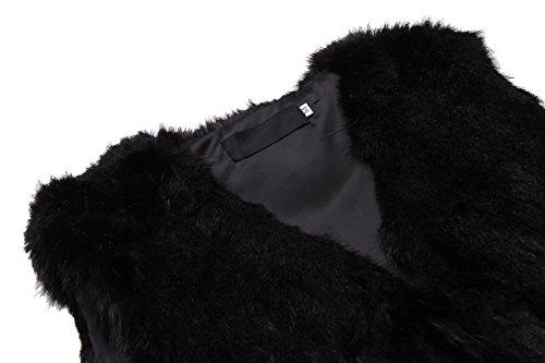 Trench Gilet Parka Vest Lonlier Fausse Manches Noir Manteau Fourrure En Court Femme Sans vxqnwF5HO