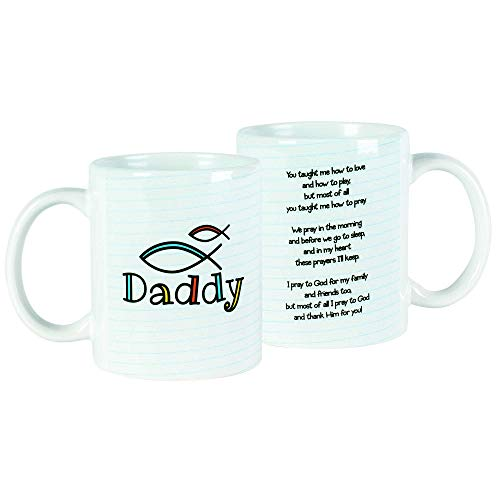 Daddy, You Taught Me Christian Fish White Striped 11 Ounce Ceramic Coffee Mug
