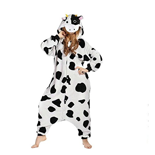 [DuolaimiUnisex Adult PyjamasCowHalloween Onesie costume] (Sexy Halloween Costumes Canada)