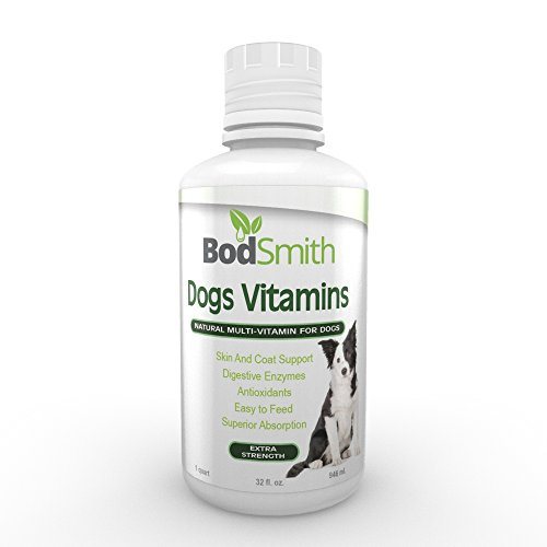 BodSmith Liquid Dog Vitamins + Glucosamine and MSM for joint support + Digestive Enzymes