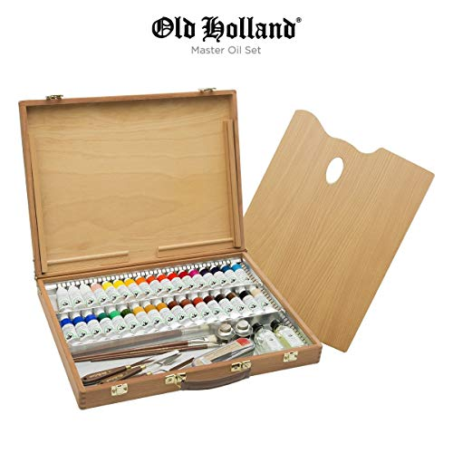Old Holland Master's Oil Paint Set with Wood Storage Box & Palette, Cups, Knives, Paint Brushes, Mediums- 34 x 40ml Tubes of Classic Oil Colour Paint