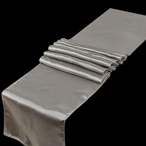 Spring Rose(TM) Huge 14 Inch x 108 Inch Silver Satin Table Runner (set of 10). Make Your Reception