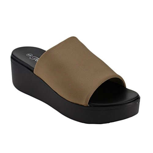 FOREVER FQ45 Womens Wide Band Wedge Heel Slip On Sandals Taupe qCpaXKK2iN