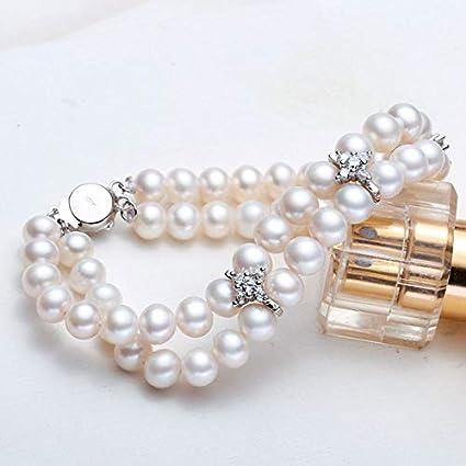 YMKCMC Pulsera 6-7Mm Pulseras De Perlas De Agua Dulce Blancas Joyas De 2 Hileras para Mujeres Boda