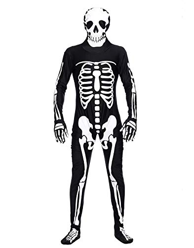 HDE Men's Skeleton Halloween Costume Spooky Adult Sized Graphic Print Outfit -