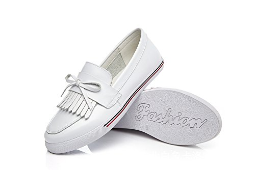Sneakers Loafer White Shoes Style Leather British Spring Flat On White Slip SUNROLAN Women's 7HwqnIPqB