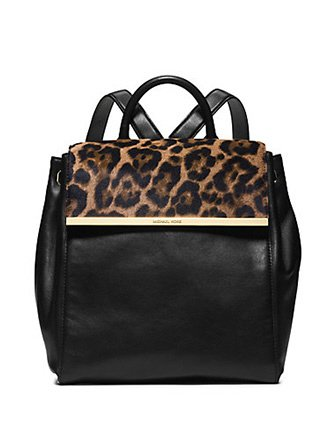 7f6a1f3bbf2e ... discount code for michael kors lana black leather leopard haircalf  backpack c678e 2c3ac