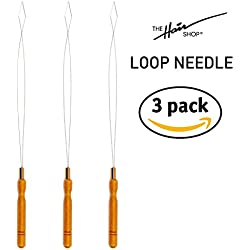 The Hair Shop Loop Needles - Wooden Grip Metal Wire Threading Tool for Quick and Easy Installation of I-Tip Remy Human Hair Extensions - Beader for Microlinks, Microbeads, Tubes (3 Pack)