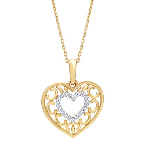 Mothers Day Gifts 0.04 Carat Natural Diamond Pendant Necklace 14K Yellow Gold (J-K Color, I2 Clarity) Diamond Heart Pendant Necklace for Women Diamond Jewelry Gifts for Women ()