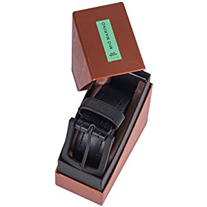 "Marino Avenue Men's Genuine Leather Belt, Classic Jean Style, 1.5"" Width - Black - Style 2-32 (Waist: 30)"