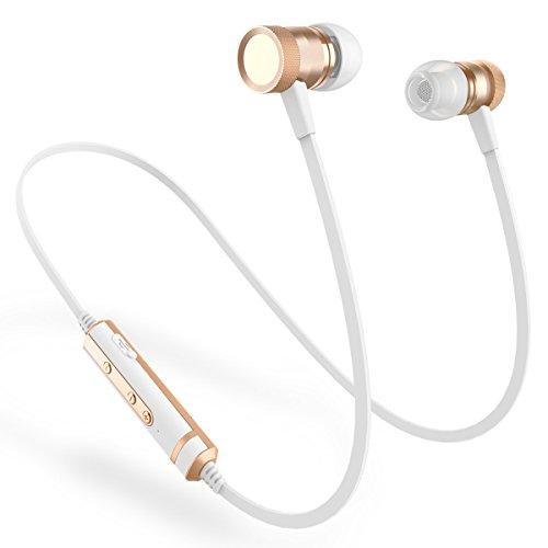 Pciun H6 Wireless Headphones,Bluetooth Earphones with Mic CSR Chip Bluetooth 4.1 Sweatproof Deep Bass Magnetic Earphones (White Gold)