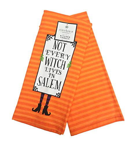 (Not Every Witch Lives in Salem Happy Halloween Themed Set of Two Decorative Kitchen Hand)