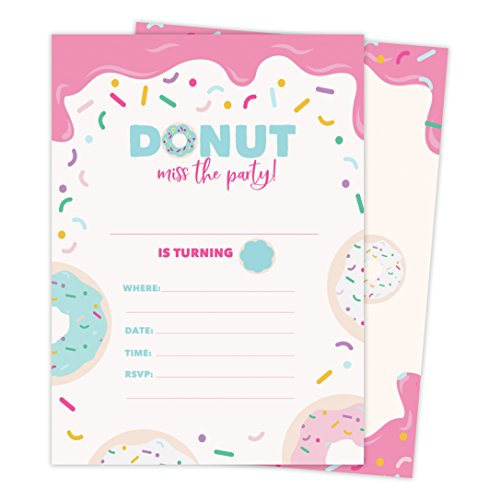 Donut Happy Birthday Invitations Invite Cards (25 Count) with Envelopes & Seal Stickers Boys Girls Kids Party