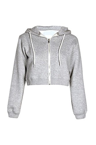 Grey New Ladies Long Sweatshirt Belly Hooded Zipper Girly Light Cropped Jacket Top Sleeves Womens Look Hw5BtqT6