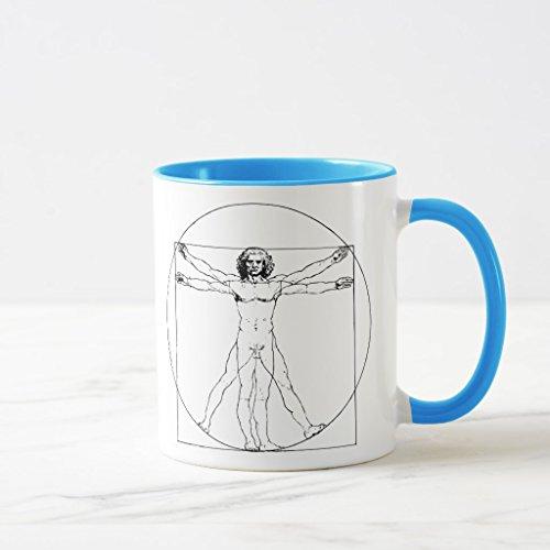 Zazzle Da Vinci Vitruvian Man Two-tone Coffee Mug, Light Blue Combo Mug 11 oz - Da Vinci 11 Light