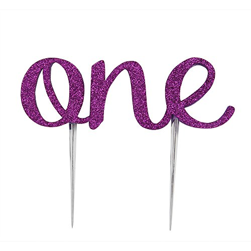 LOVELY BITON 1st First Birthday One Cake Topper Decoration Single Sided Double Purple -