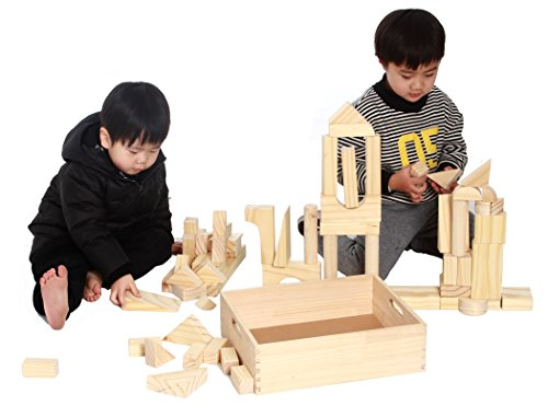 - MOD Complete Extra Large Size - 64 Piece Set Children's Wood Building Blocks with Solid Wooden Storage Tray Holder- Made from Solid Organic BPA-Free Natural New Zealand Pinewood