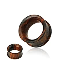 Pair Of Concave Double Flat Flared Tunnel Organic Sono Wood Plugs