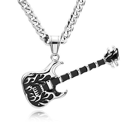 (MOWOM 24 Inch Silver Tone Black Stainless Steel Pendant Necklace Guitar)