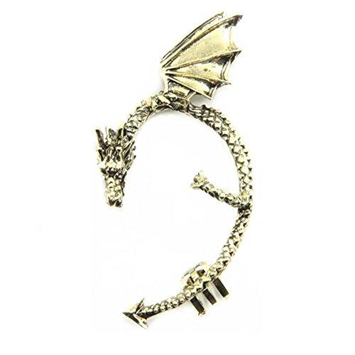Gothic Earring Classic Dragon Ear Wrap Cuff Earring Punk Rock Left Ear (antique brass)